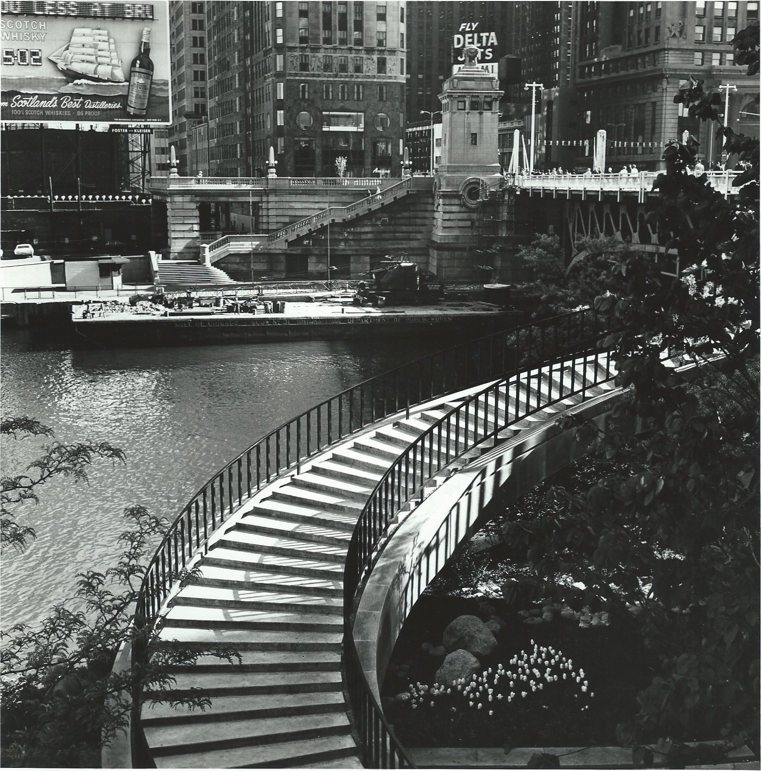The Stairway near Equitable Bld , Chicago, 1966  Gelatin silver photograph.  7 1/2 x7 1/2 inches