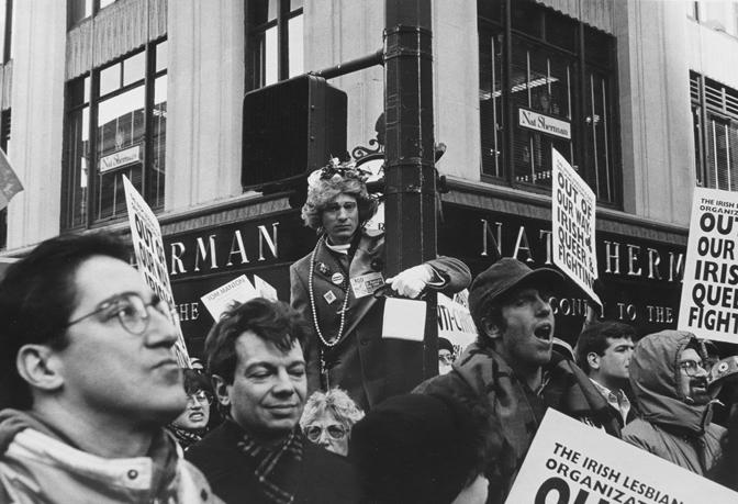 "Demonstration, St. Patrick's Day Parade, N.Y.C. , 1994  Archival Inkjet Print  20 x 13 3/8"" $800"