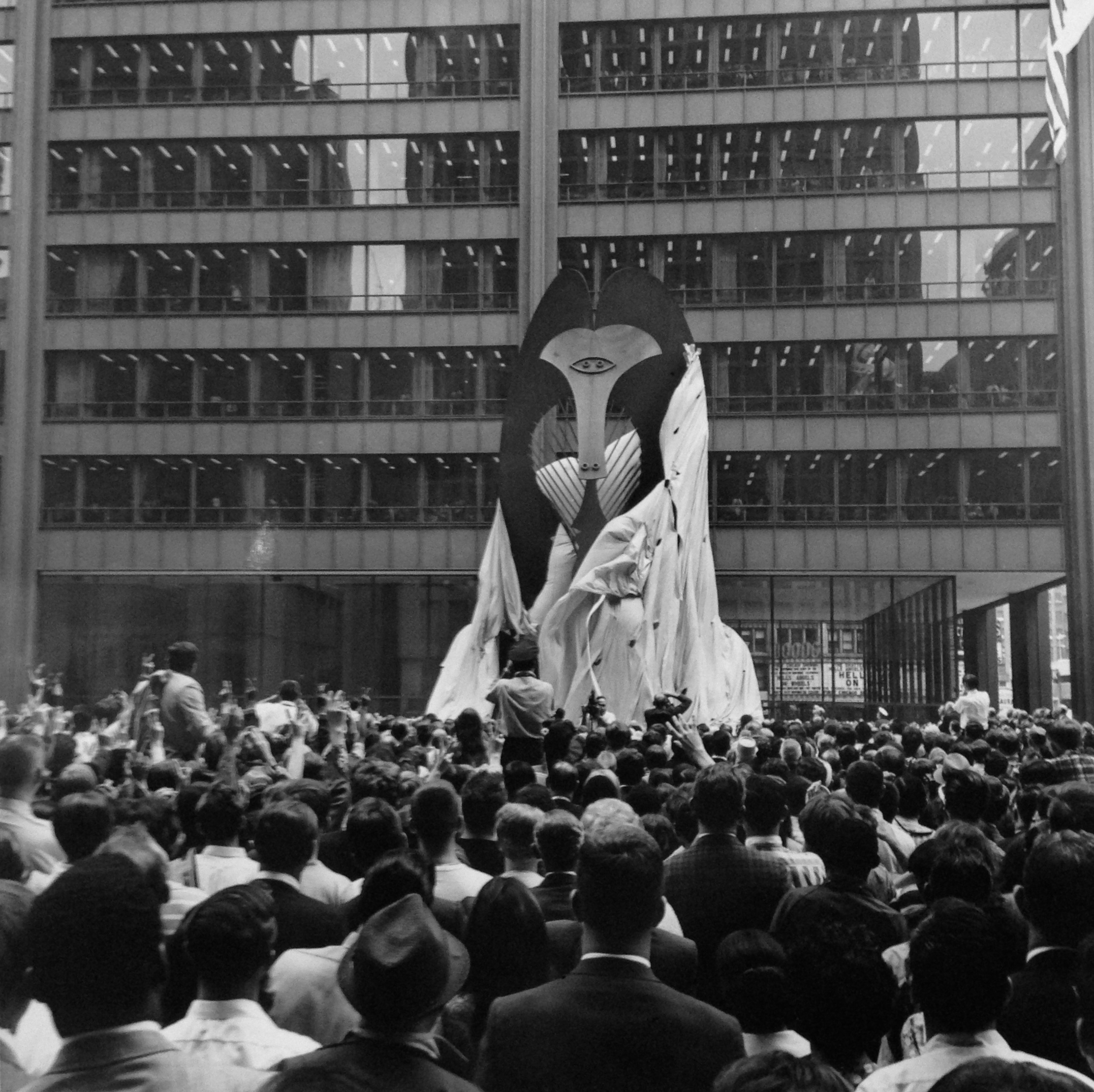 "Unveiling of Picasso Sculpture, Daley Plaza,  August 15, 1967  Signed Silver Gelatin Print  8x10""  $750"