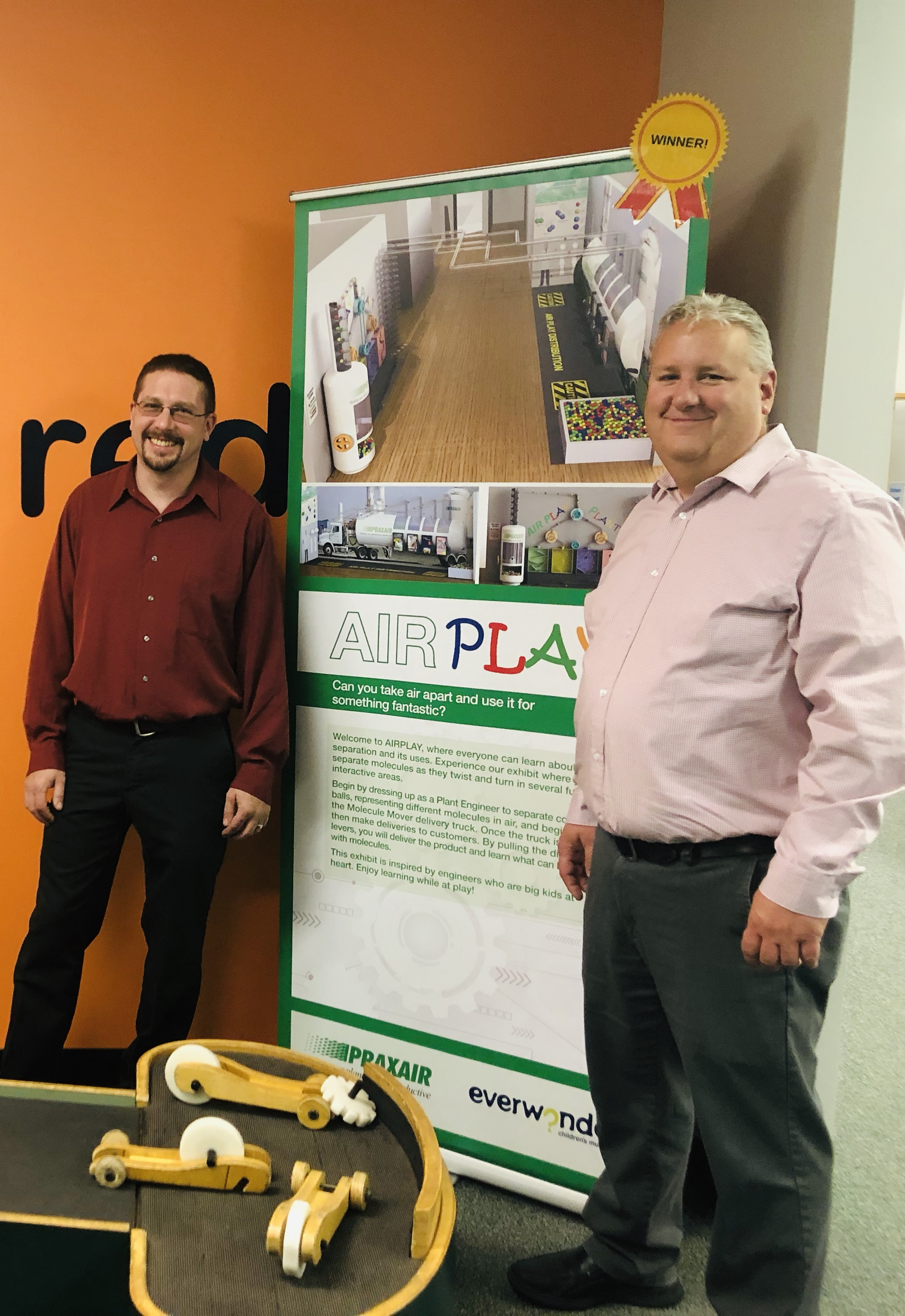 Praxair design winners visit EverWonder! - Andy Dybdahl and Jeff Goodband were able to make the trip from upstate New York to Newtown & see where their new exhibit will be featured once complete.