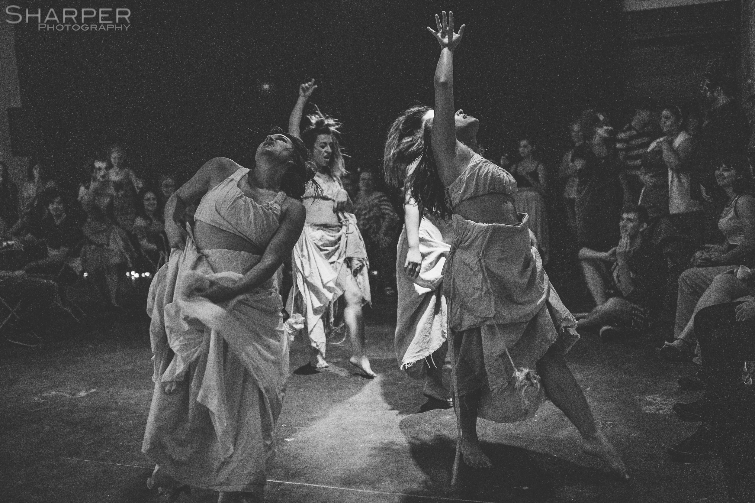 Black and white photo of Austin Shakespeare theater performance