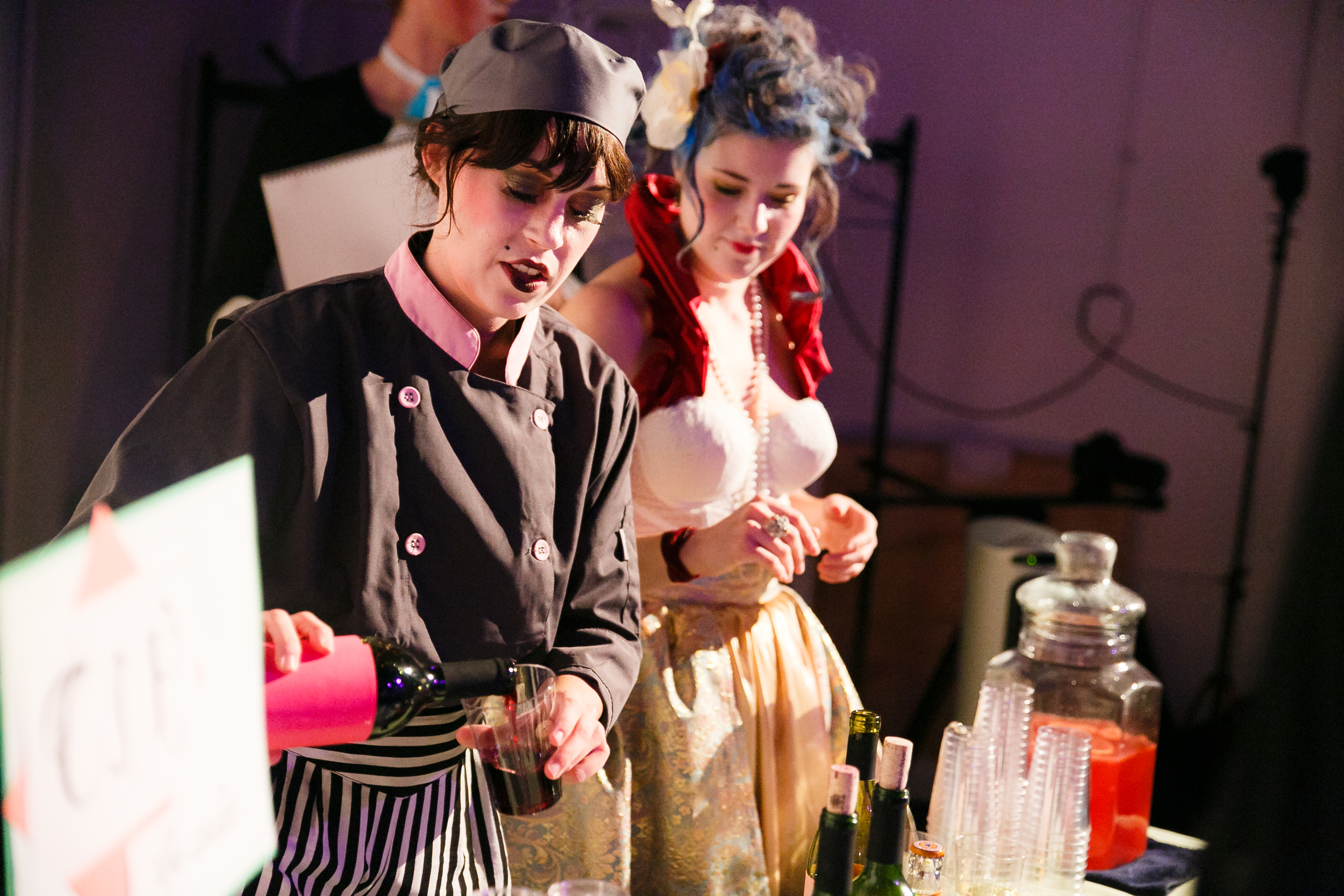 Bartenders in costume during immersive theater event