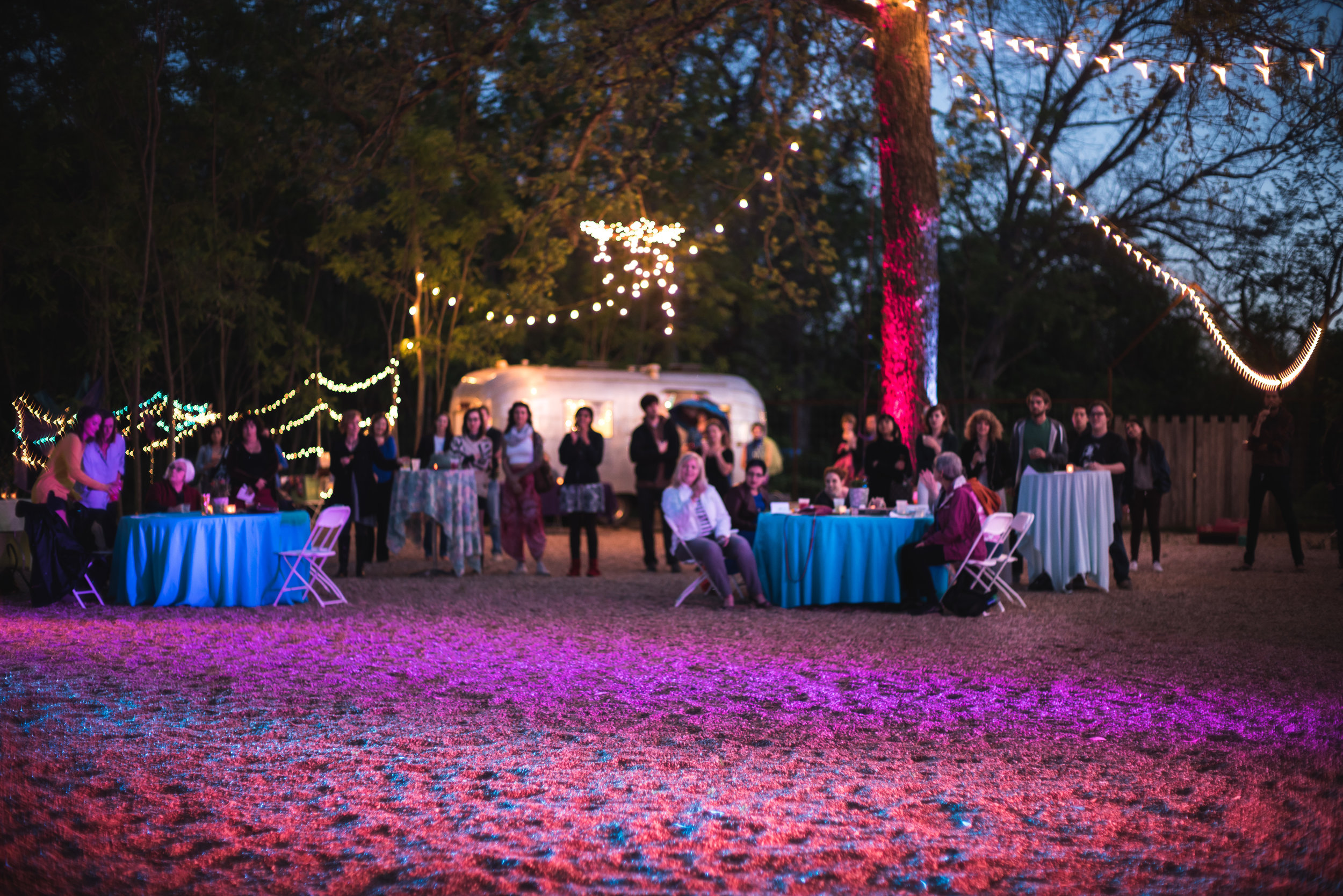 Austin theater event outside with dance and entertainment