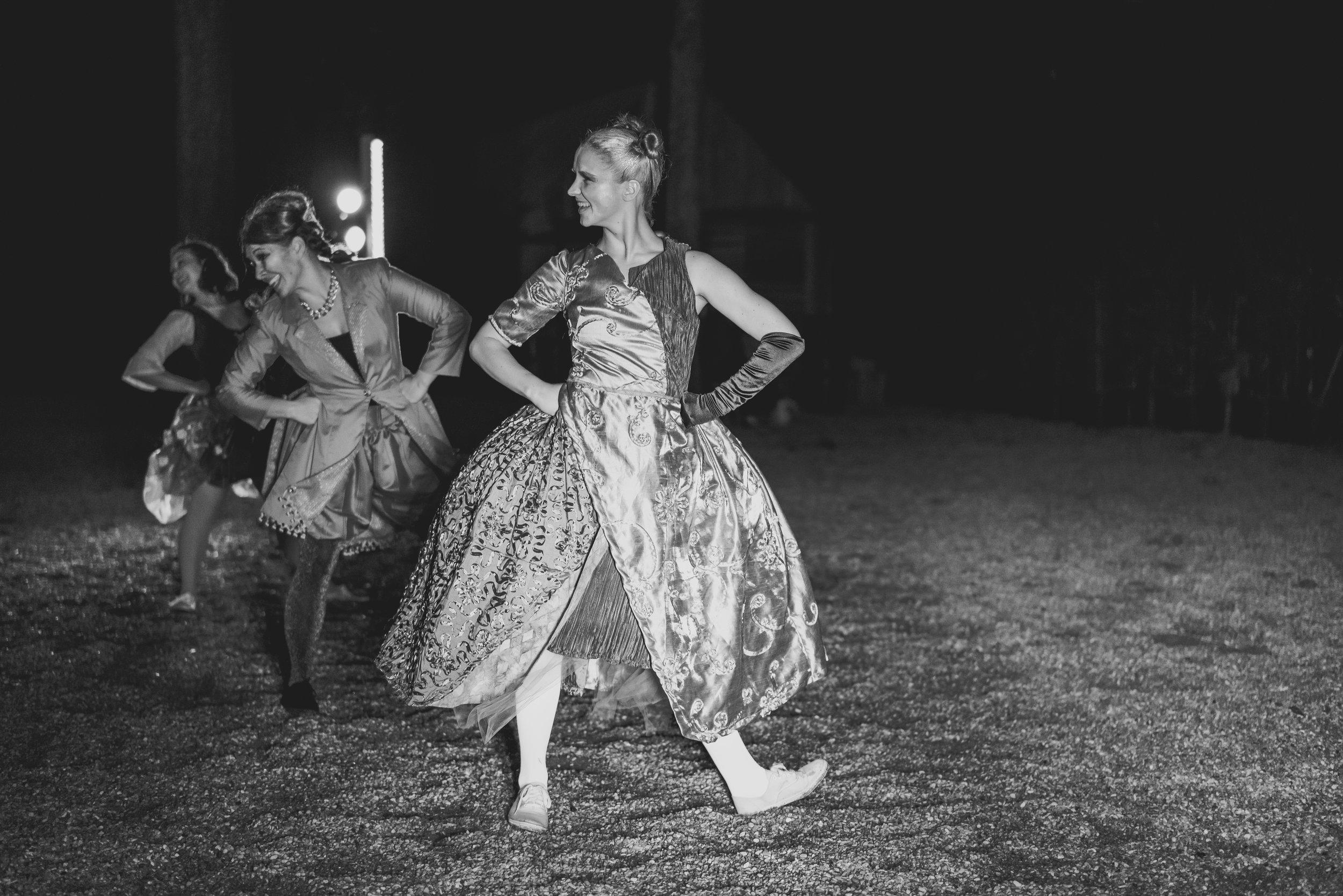 Austin dancers outside black and white photo
