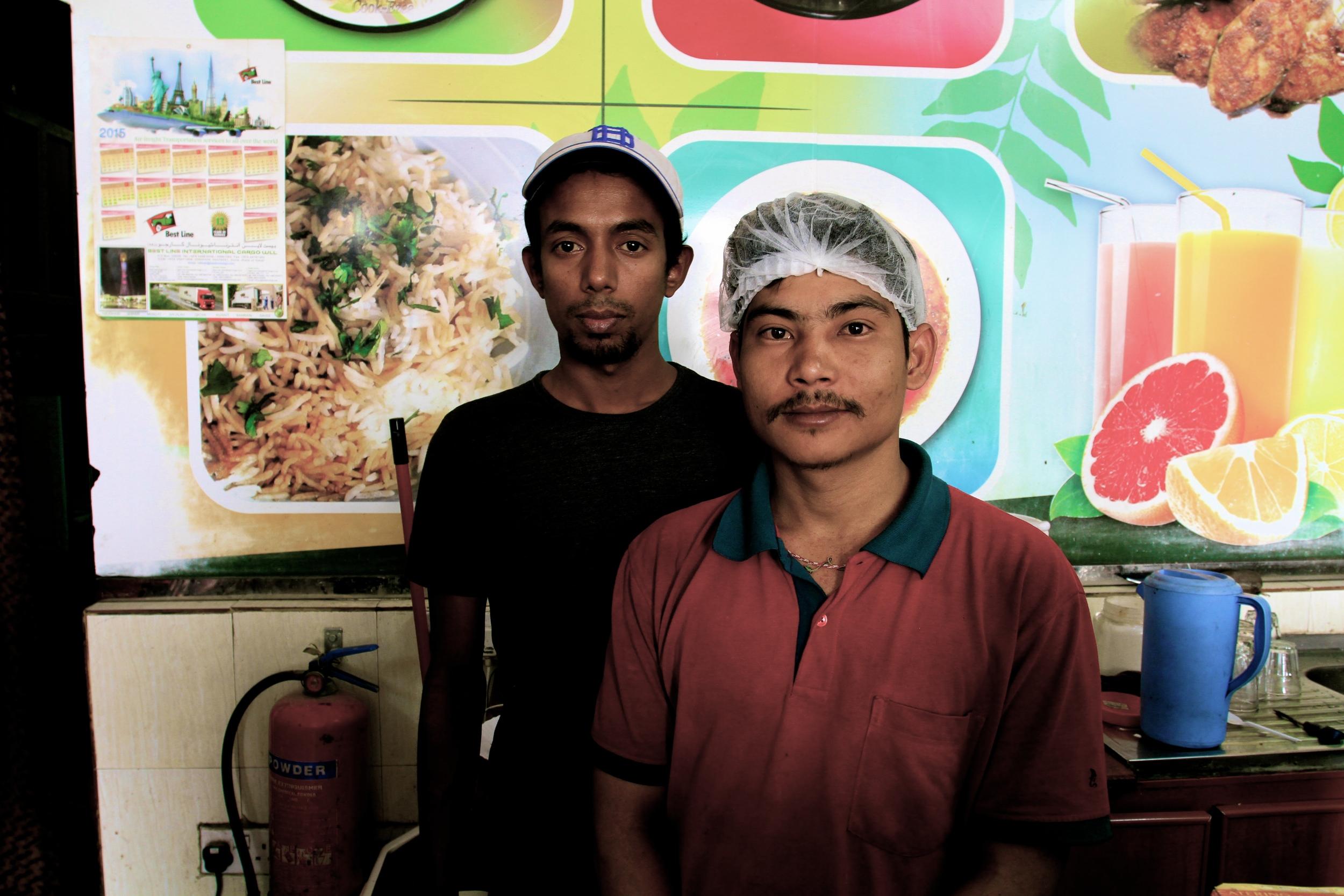 Laheer from Kandy, Sri Lanka and Mohan from Morang, Nepal are among Zaiqa'sstaff members.