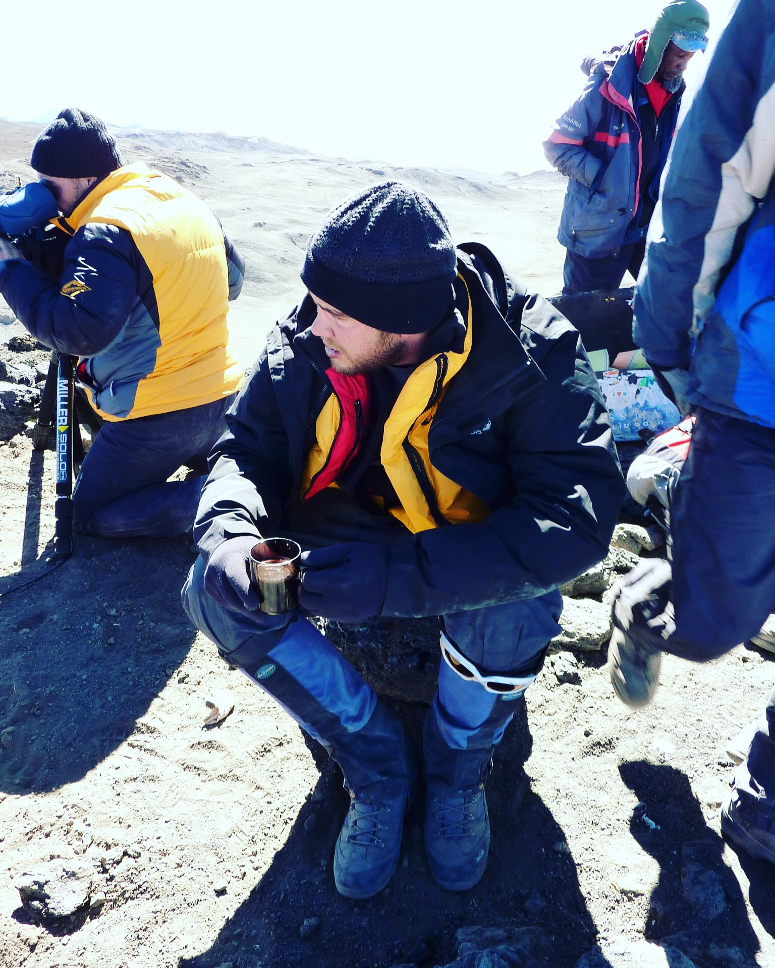 Admiring the view from the top of Mt Kilimanjaro after a gruelling six-day TV shoot for Seven Network, Australia.