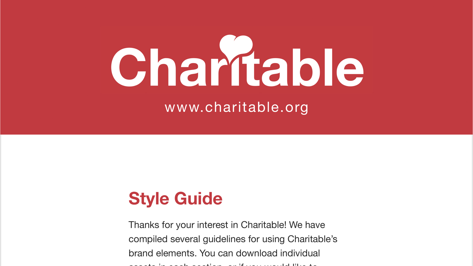 Style Guide - Shaped identity of Charitable.org brand by defining language and brand vision