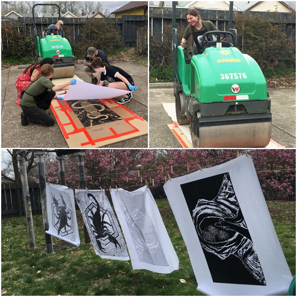 Thanks to the support of a Burning Man for a Global Arts Grant, I had the opportunity to organize a Steamroller Printing Event! It took place on Saturday, April 6th, 2019 at the Portland Art Museum. Giant relief prints were created as a way to bring artists, students, and the community together.