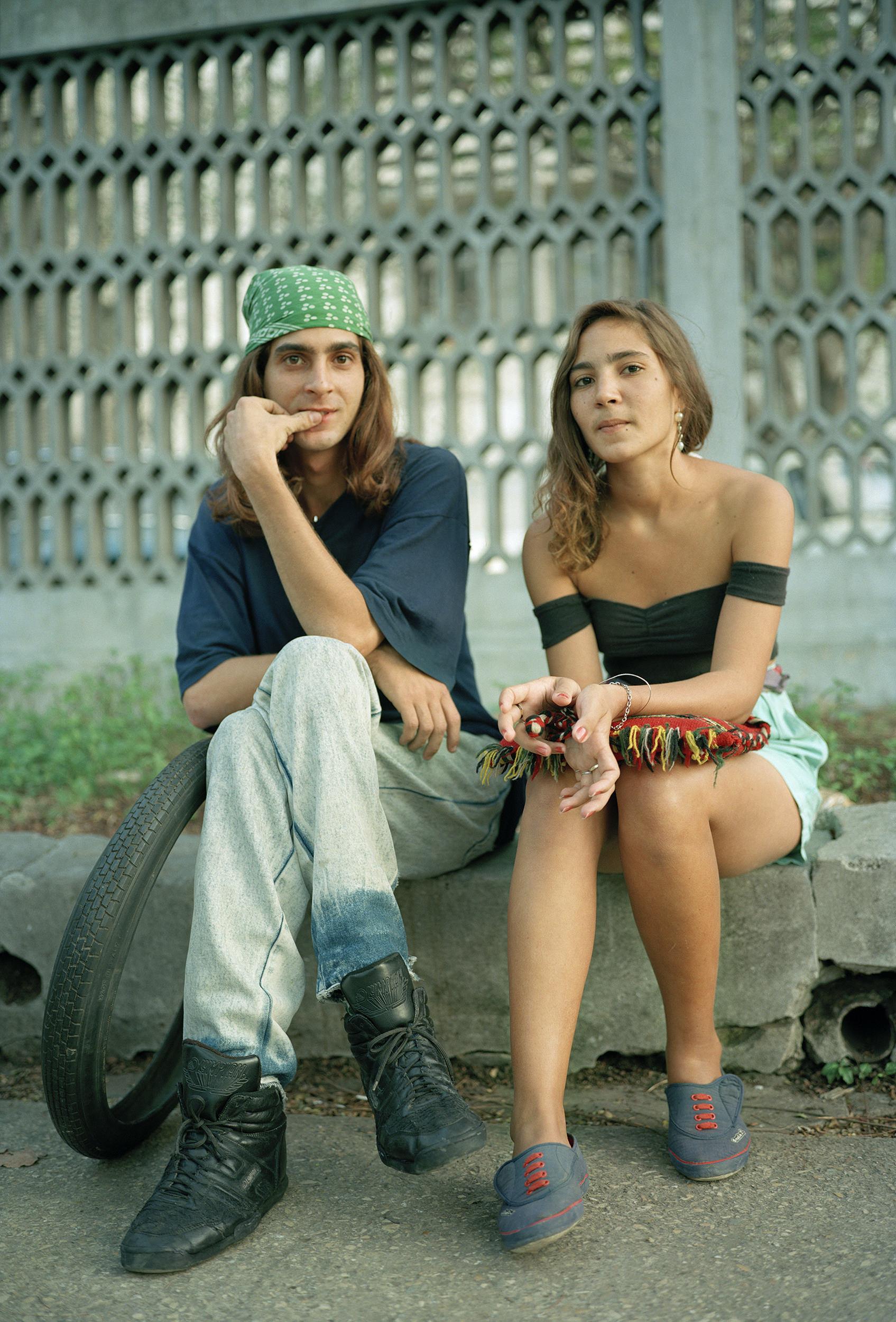 Couple With Tire-Havana, Cuba