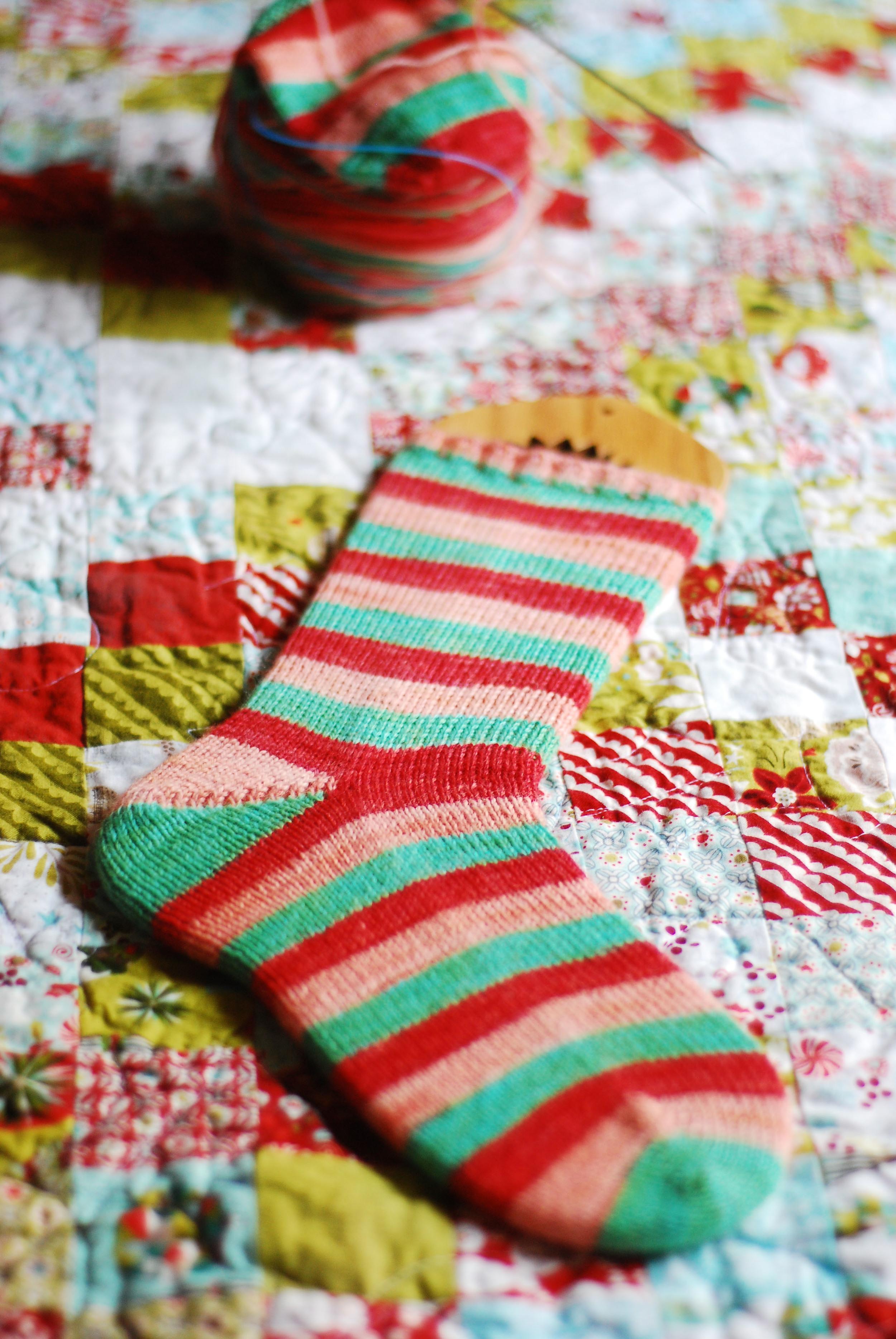 stripedchristmassock
