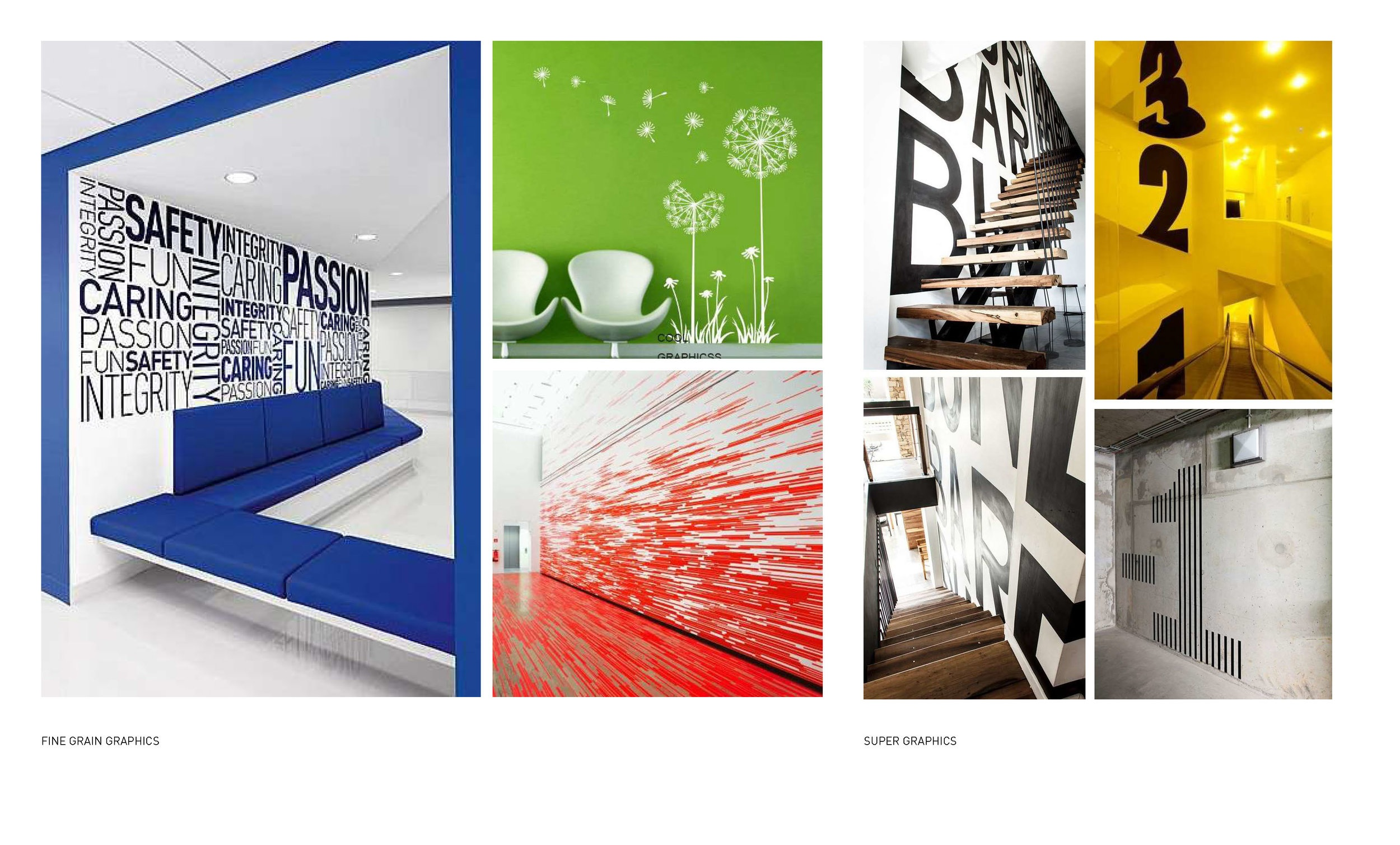 Bold graphics can highlight the high energy of the fitness studio