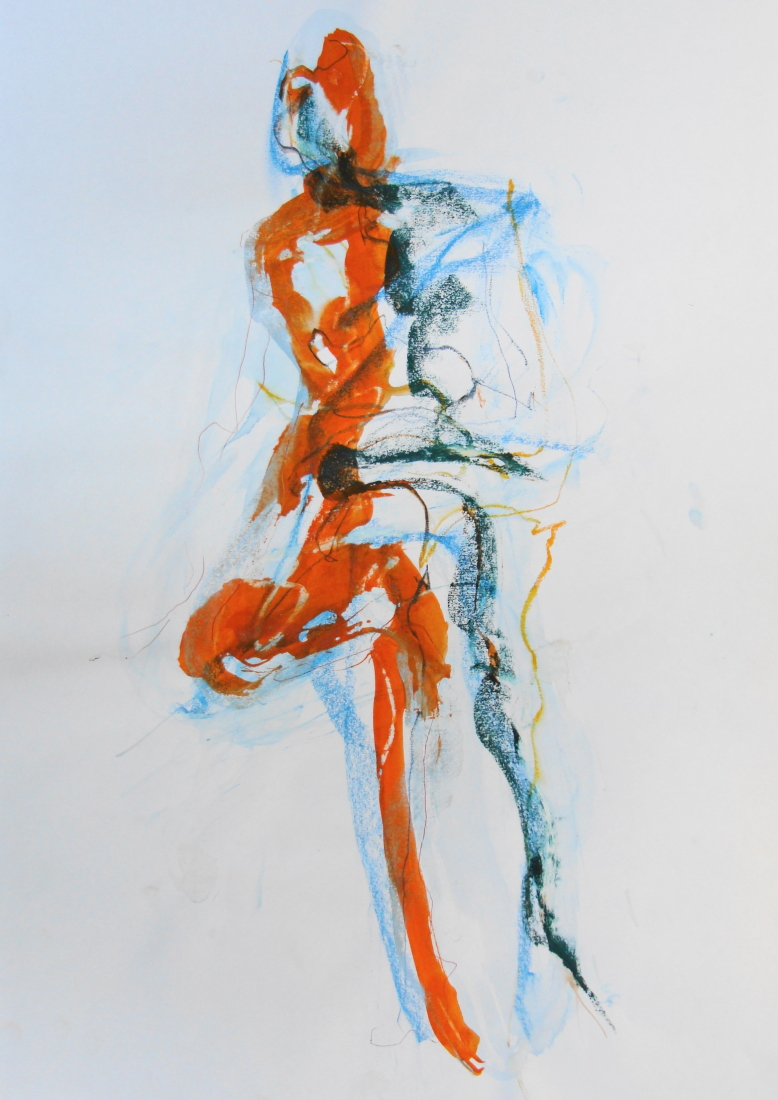 Tracy Burgess - ORANGE SEATED FIGURE - mixed media on paper on Paper.jpg
