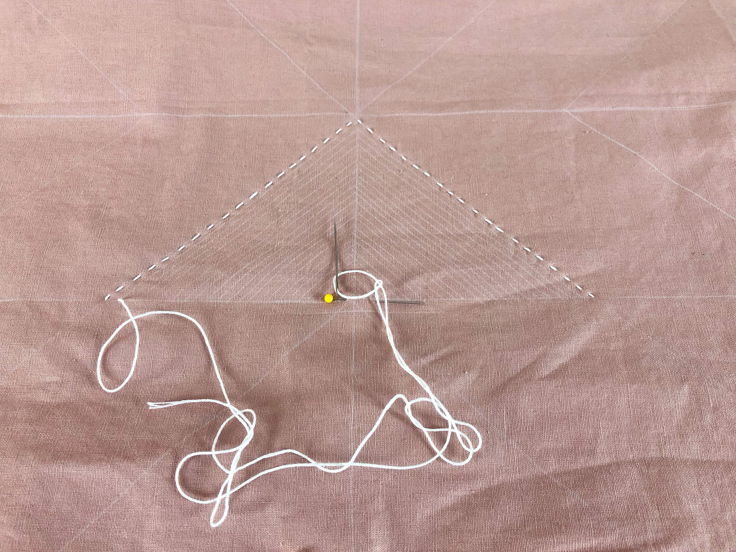 - - Stitch through all layers- Stitch length is according to your preference. The example pictured has stitches about 3/8