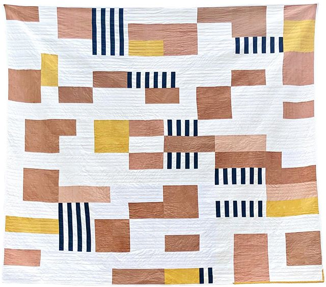 "The Chateau Quilt A #postagestampquilt with a nod to #bauhausdesign - Check out more detail shots on my website rettelefibers.com 90""x90"" Natural dyed with #osageorange #cutch #avocado. #quilting #quilt #bedding #interiordesign #fiberart #naturaldyeing #naturaldyed #slowcraftmovement #slowcraft #bauhausdesign #madeinaustin #madeinnewyork"