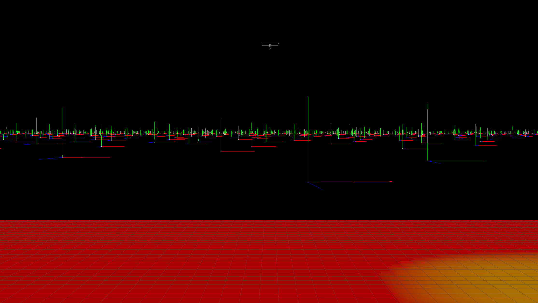 This is a view of the template points from the render camera. Notice the subtle variation in rotation and scale among the points.