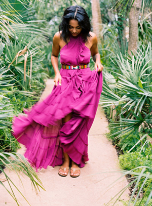 woman in florida jungle in a pink free people dress