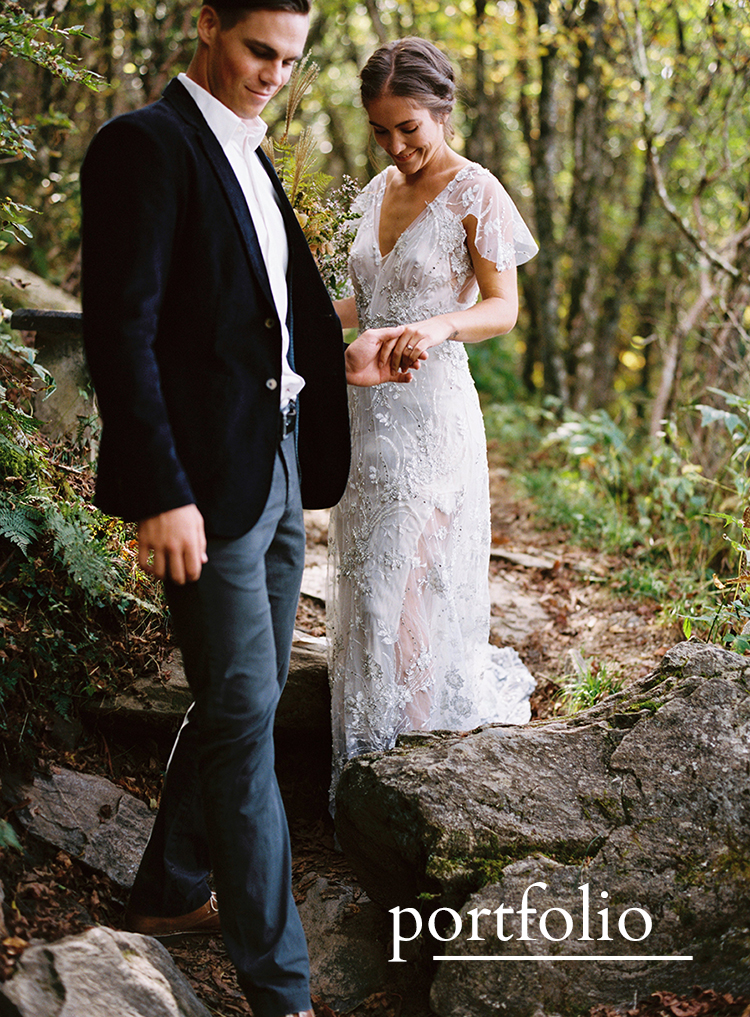 Bride and groom walking through a beautiful forest natural wedding