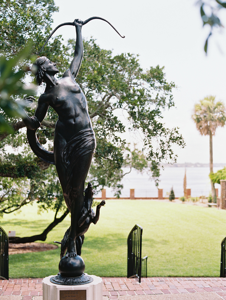 classical archer bronze statue on the garden patio of the Cummer Museum