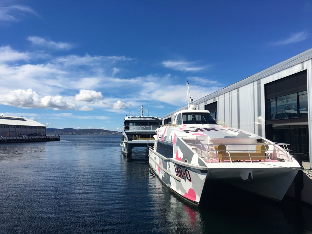 Cool catamarans lie ready in Sullivan's Cove to ferry passengers to the museum of MONA. Photo: Anders Buch-Larsen