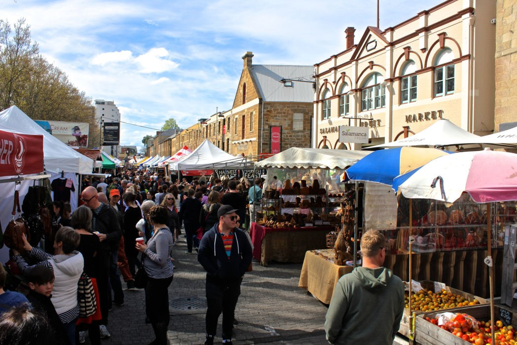 Each Saturday the stalls of Salamanca Market become Hobart's main attraction. Photo: Anders Buch-Larsen