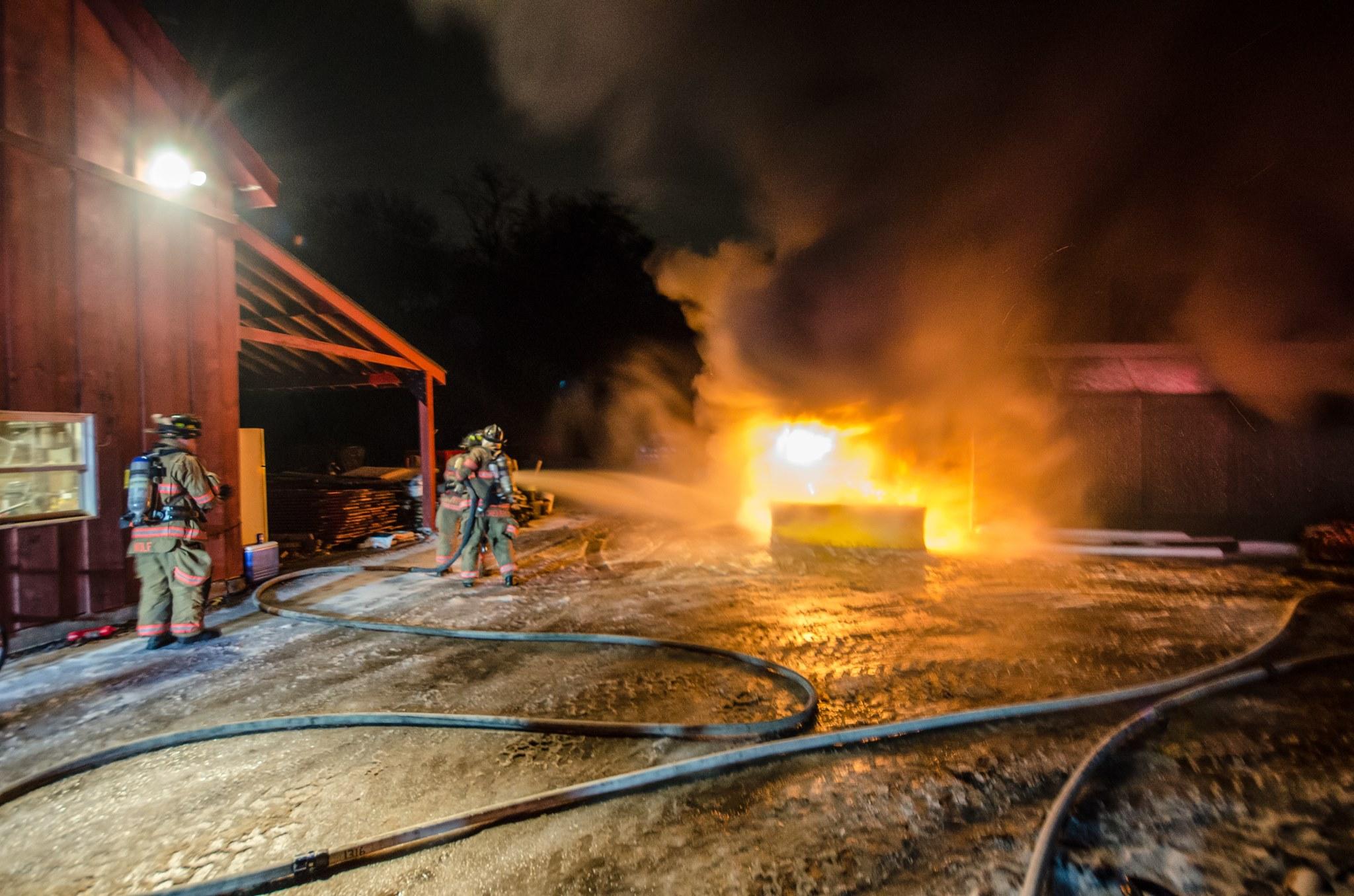 Truck fire next to barn - Maple Street - Feb 2018