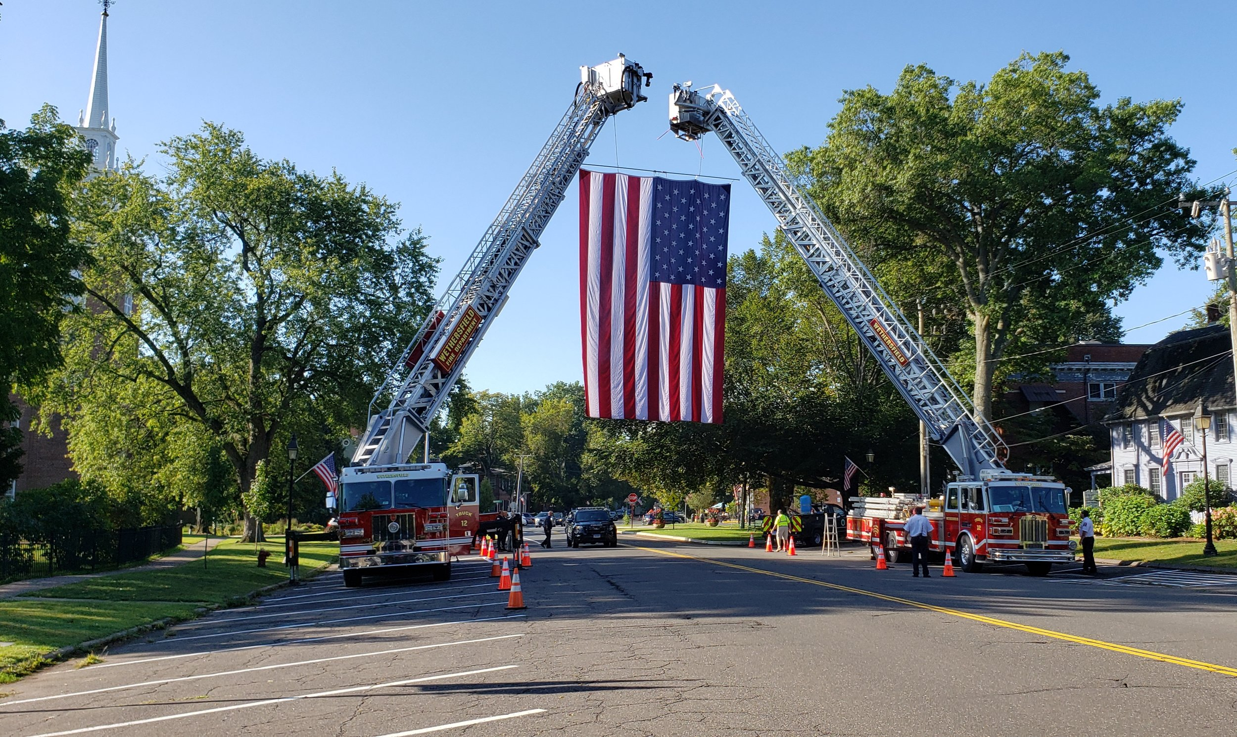 Flying the American Flag for the Funeral of retired Chief Tom Watson