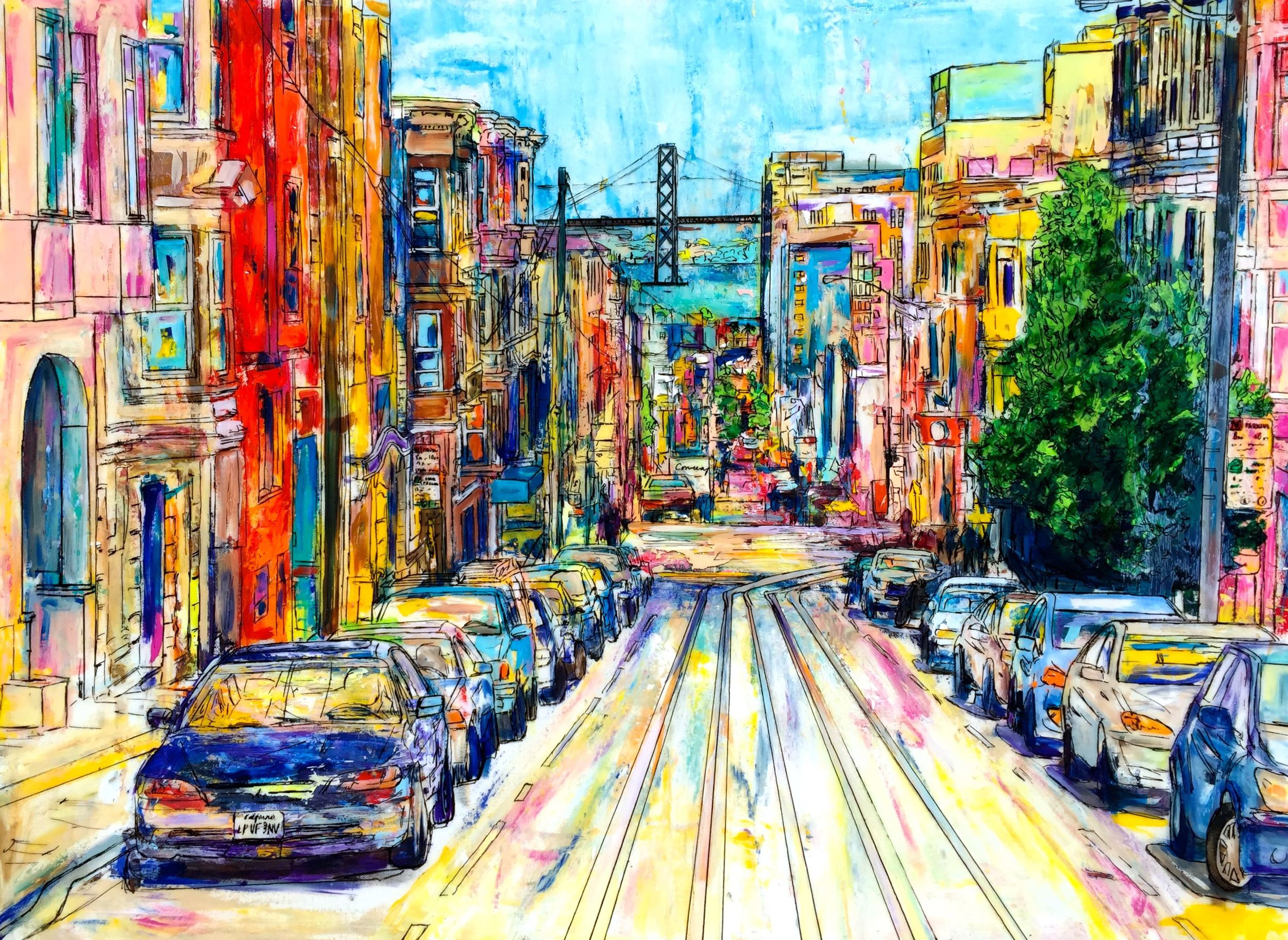 """PACIFIC AND POWELL (SAN FRANICSCO)   40 x 30""""  Acrylic, ink, acetate, and epoxy resin on canvas  2015  PRINTS AVAILABLE / ORIGINAL SOLD"""