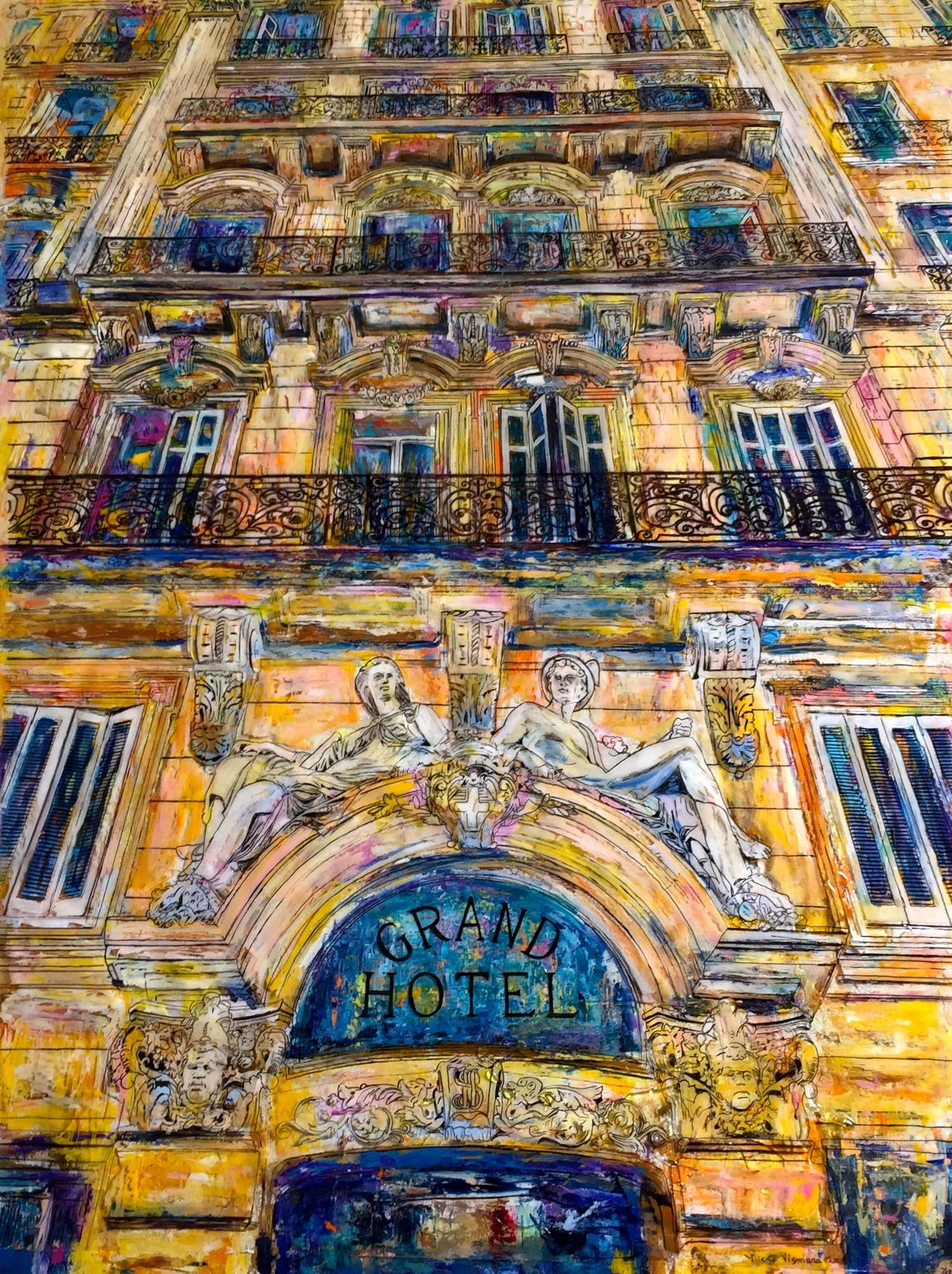 """LE GRAND HOTEL, MARSEILLE   36 x 48""""  Acrylic, acetate, ink, and epoxy resin on canvas  2015  SOLD"""