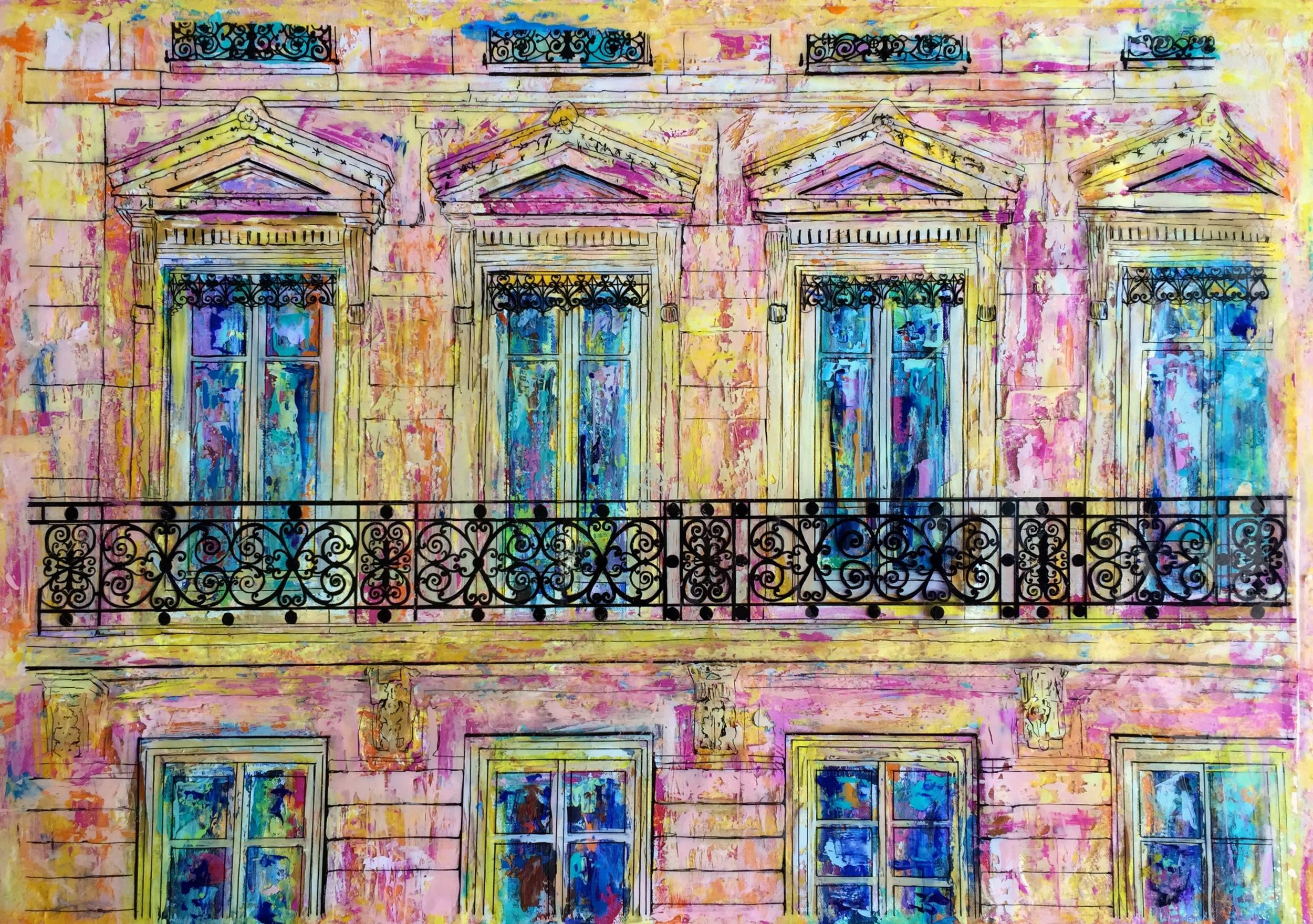 """PARIS BALCONIES   24 x 36""""  Acrylic, acetate, ink, and epoxy resin on canvas  PRINTS AVAILABLE / ORIGINAL SOLD"""