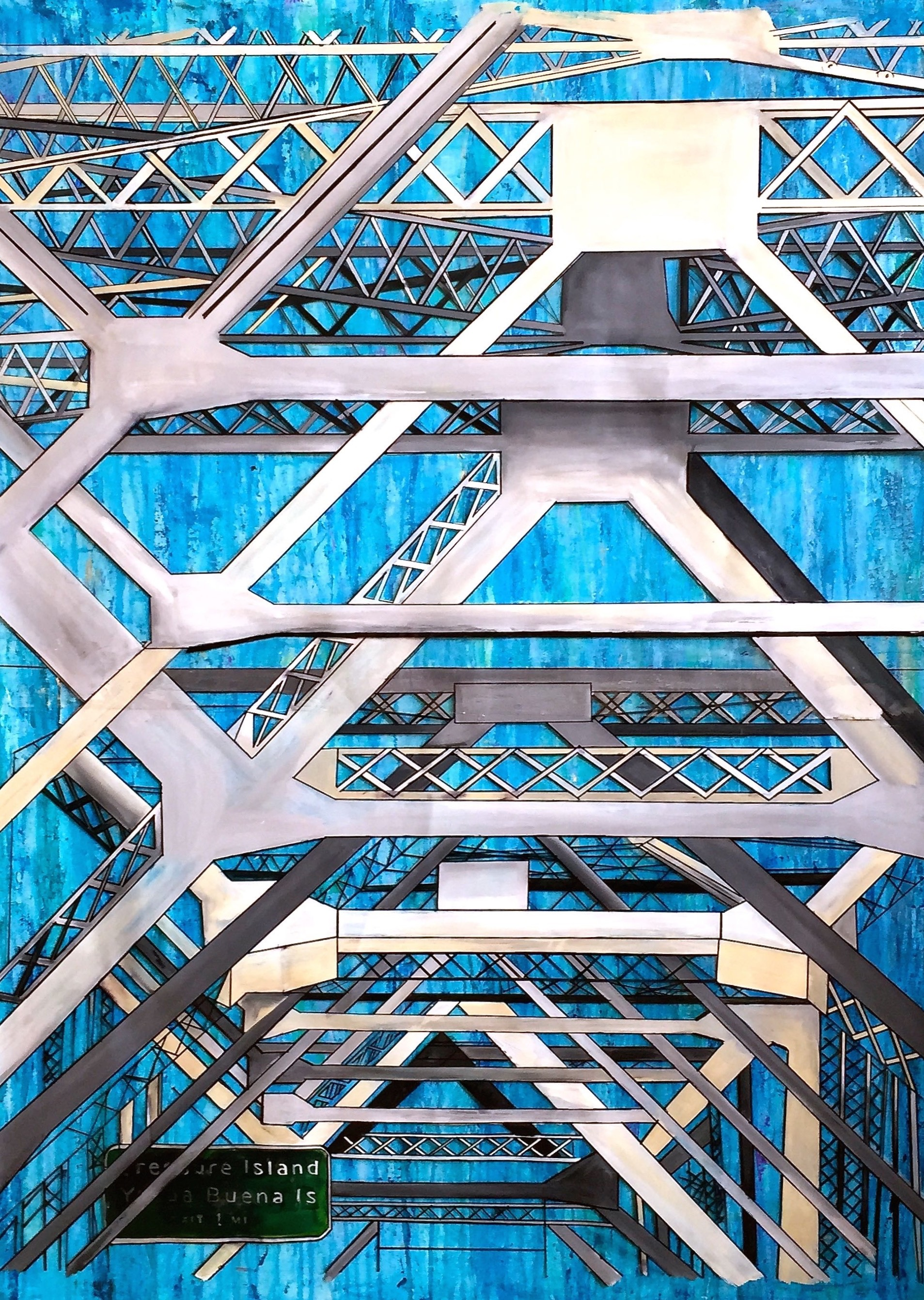 """BAY BRIDGE   36 x 48""""  Acrylic, acetate, ink, and epoxy resin on canvas  2015  AVAILABLE"""
