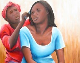 "Deux femmes maliennes / 40x48"" / Acrylic on canvas / AVAILABLE"