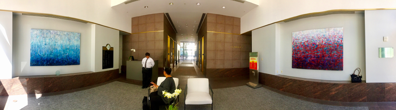 CLAY STREET LOBBY - DOWNTOWN OAKLAND - ARTWORK RENTAL THROUGH SLATE ART CONSULTING - 2017