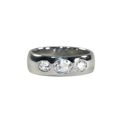 Custom Platinum & Rose cut oval diamonds    Started with a simple request for a band and flush set stones.