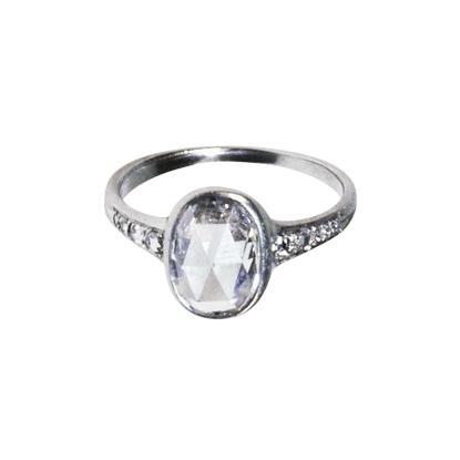 Custom Platinum & Rose cut diamond engagement ring