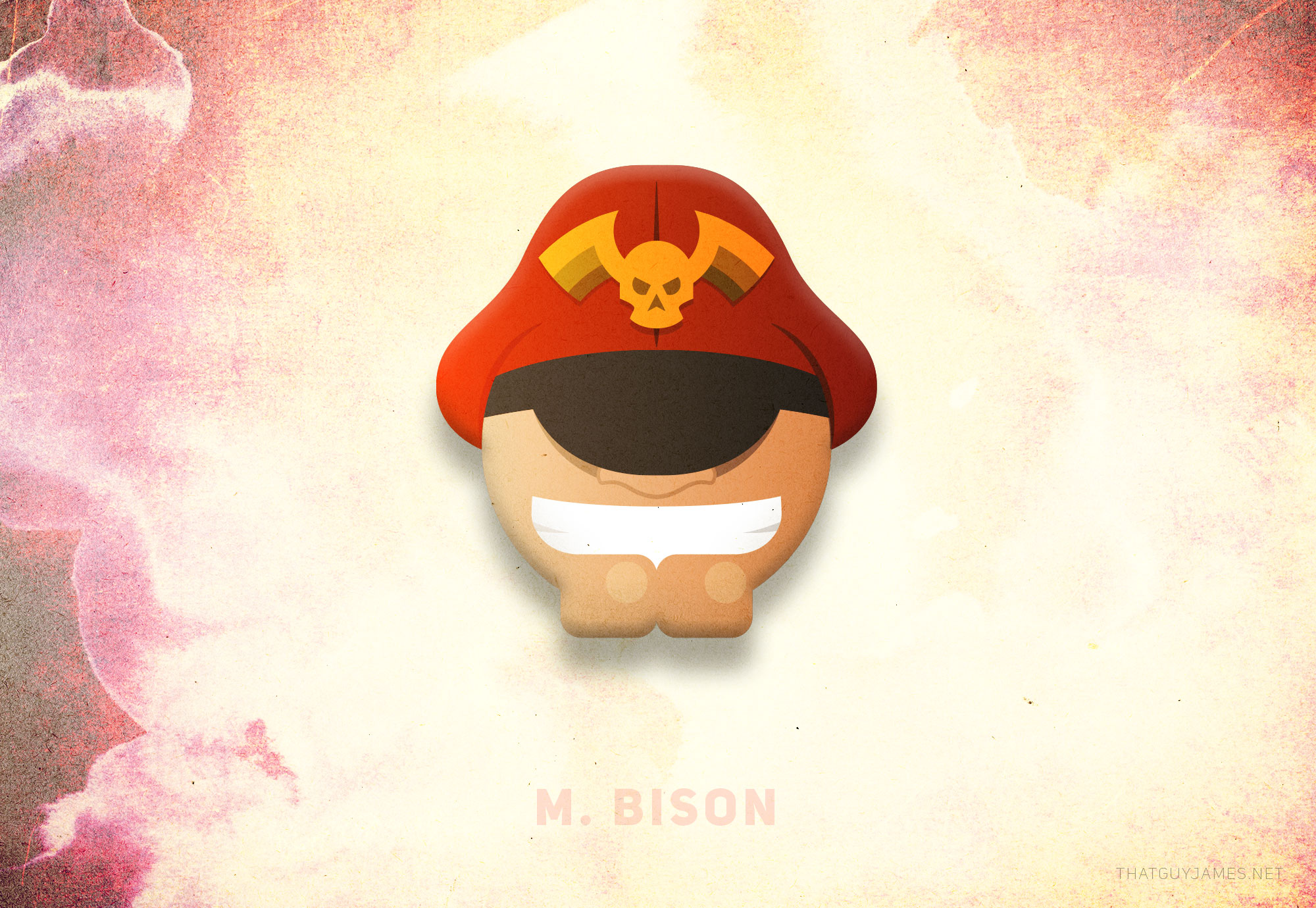 M. Bison represented the biggest learning curve for me on the project. I had started out with a much more accurate representation for each character, but quickly realized the style did not allow for superfluous information. Some things just don't matter with these characters. With M. Bison, everything from the bridge of the nose up to the beginning of the cap is largely irrelevant information. He has no pupils, sure, but half the characters in this game don't either.   This got me thinking like a caricaturist: pick the most prominent unique features and blow them way out of proportion to make the character 'read' correctly. Giant chin, giant hat, giant teeth; you know who it is.
