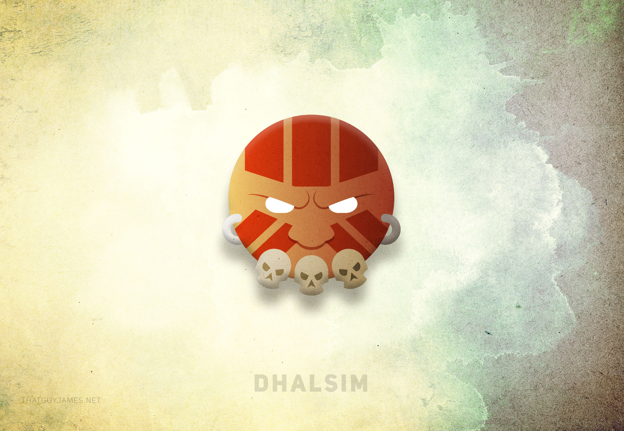 An exercise in geometric simplicity, Dhalsim came together almost instantly. My only struggle with this character was trying to give him ears for the rings to slot into, until I realized they were not needed. The face paint makes him look like a volleyball, and that makes me happy.