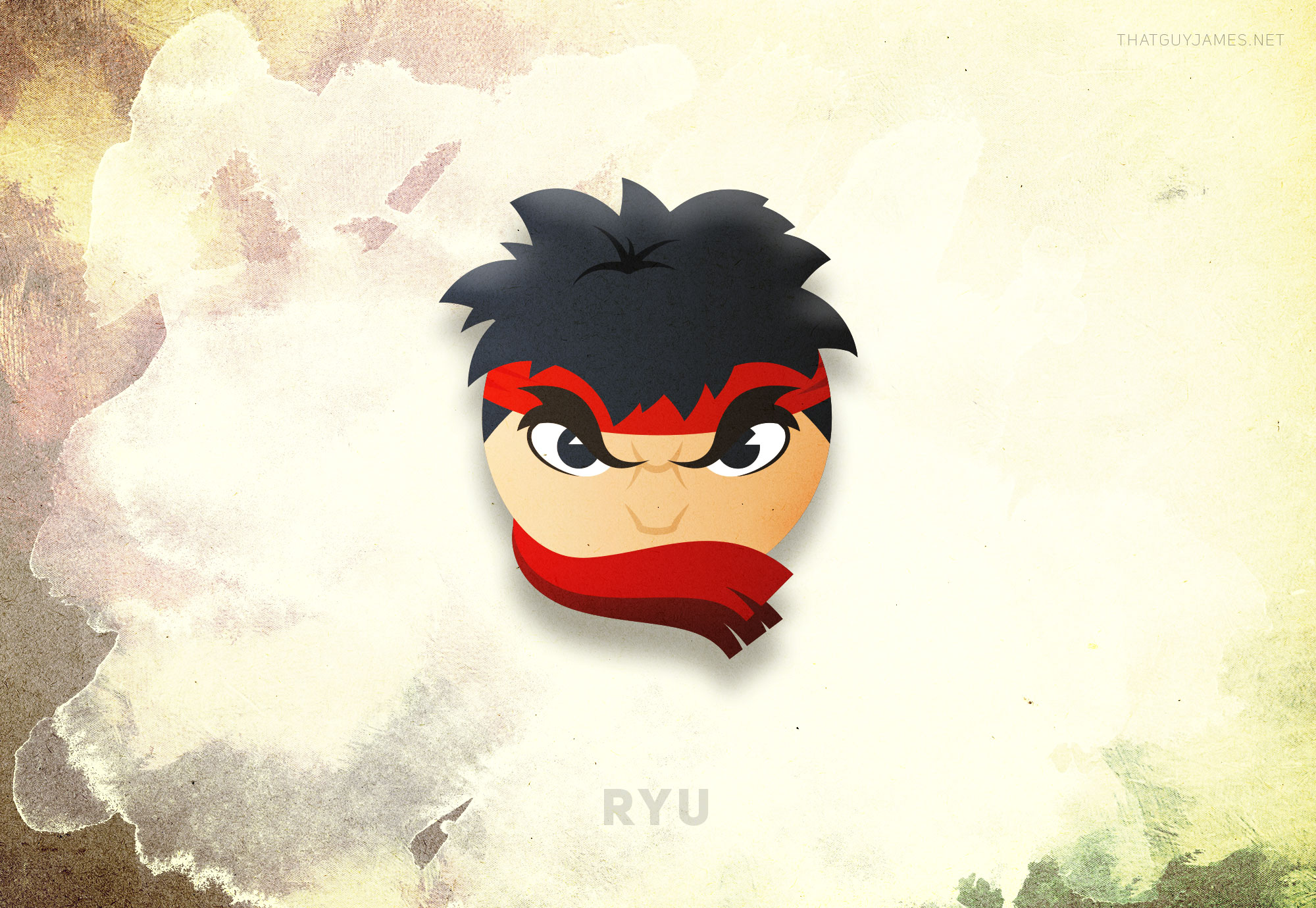 EYEBROWS. I played with a couple different configurations for Ryu's signature headband, choosing to settle on one that simultaneously featured the cloth and obscured the mouth area, which it turned out was redundant. Ryu's face is pretty much always a scowl; we know he's in a focused/bad mood, the eyebrows say it all.