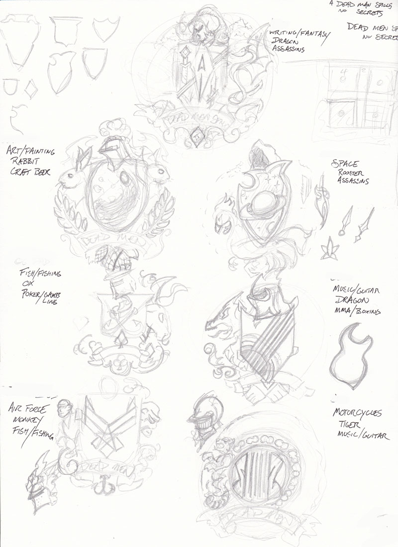 Blocking out the basic ideas for each of the heraldic elements.