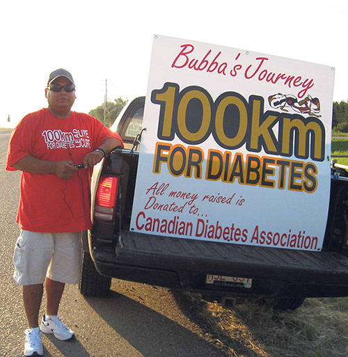Bubba Vermette does a 100-kilometre walk each year to raise funds for diabetes research and to increase awareness of the disease.   SUPPLIED