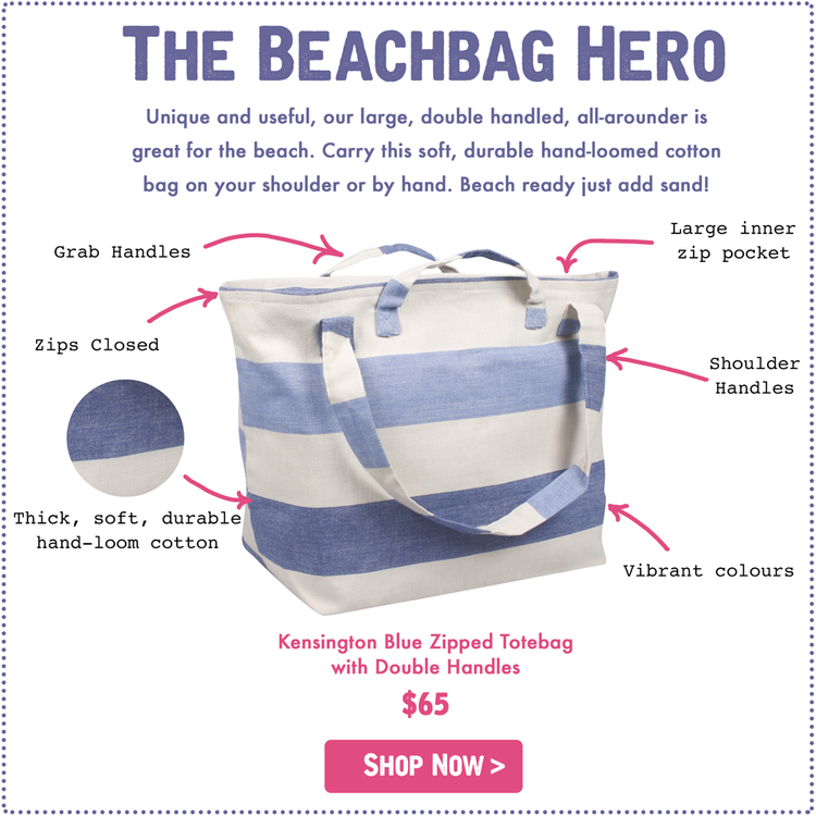 Great as a beach bag, market bag, gym bag this is a versatile soft, durable hand loomed cotton bag that comes in three fun colours (Blue, Pink and Earthy Green).