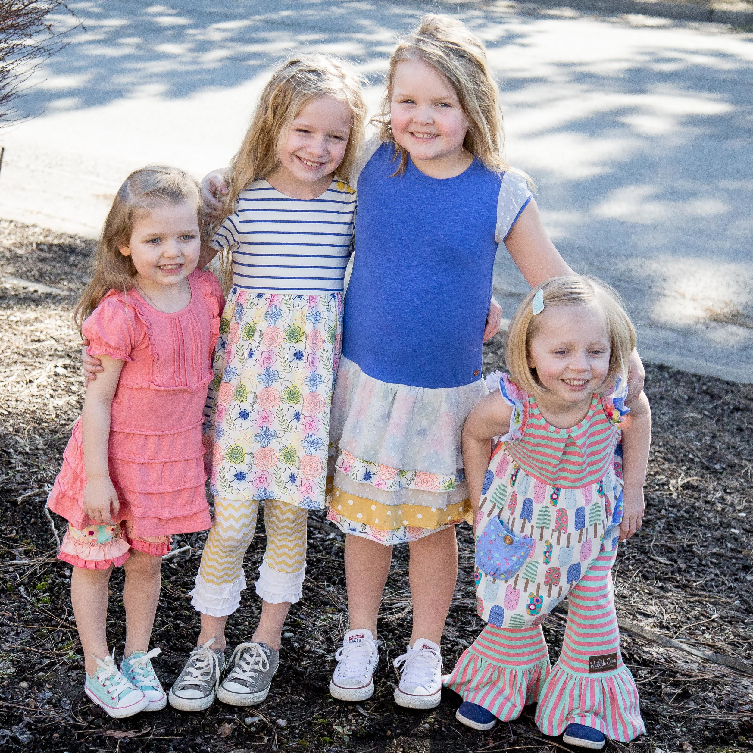 Avery size 2 dress & 6 shorties/ Scout size 6 dress / Sailor size 8/ Gwen size 6s