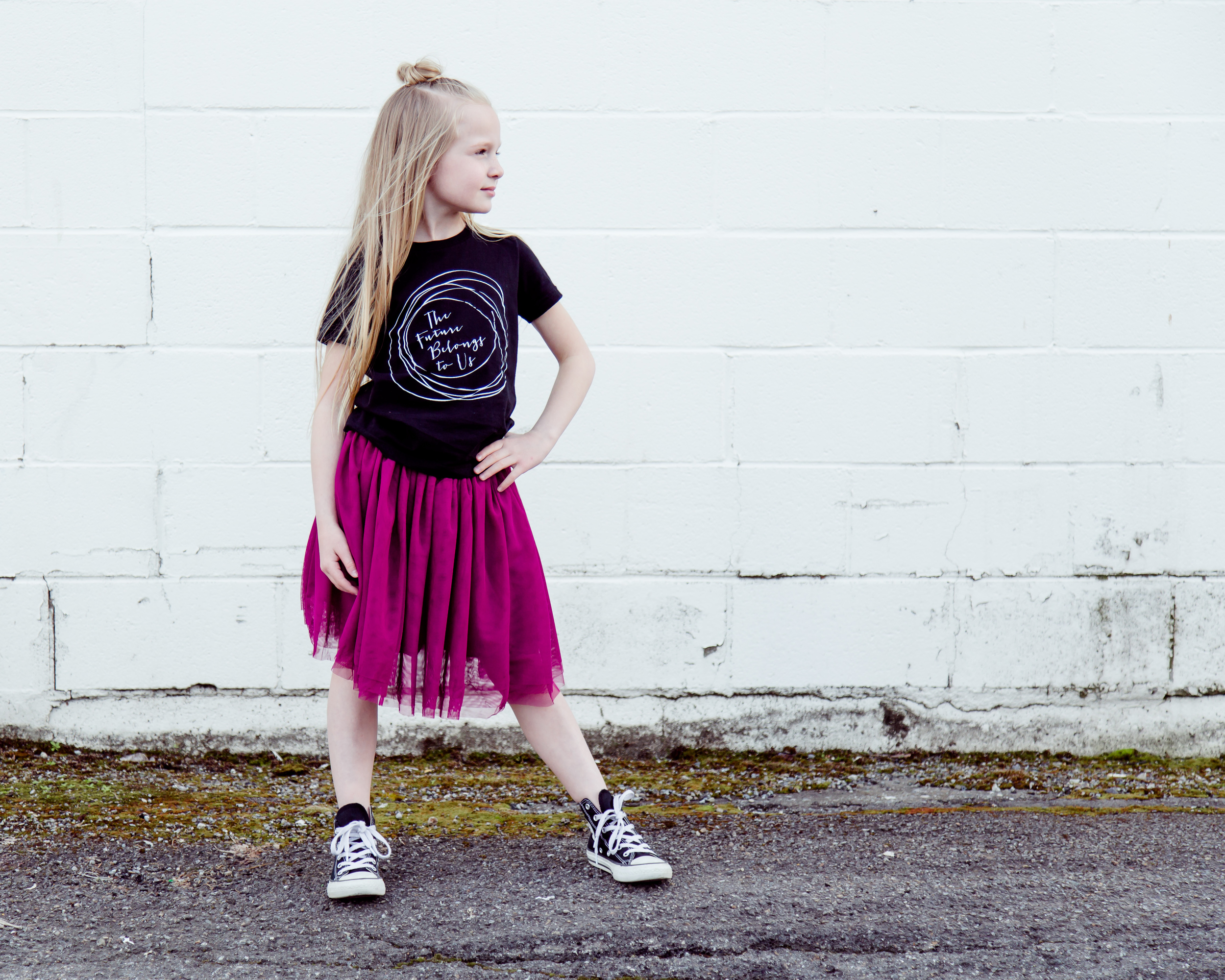 tee: badger and rue // skirt: little edge threads // shoes: converse