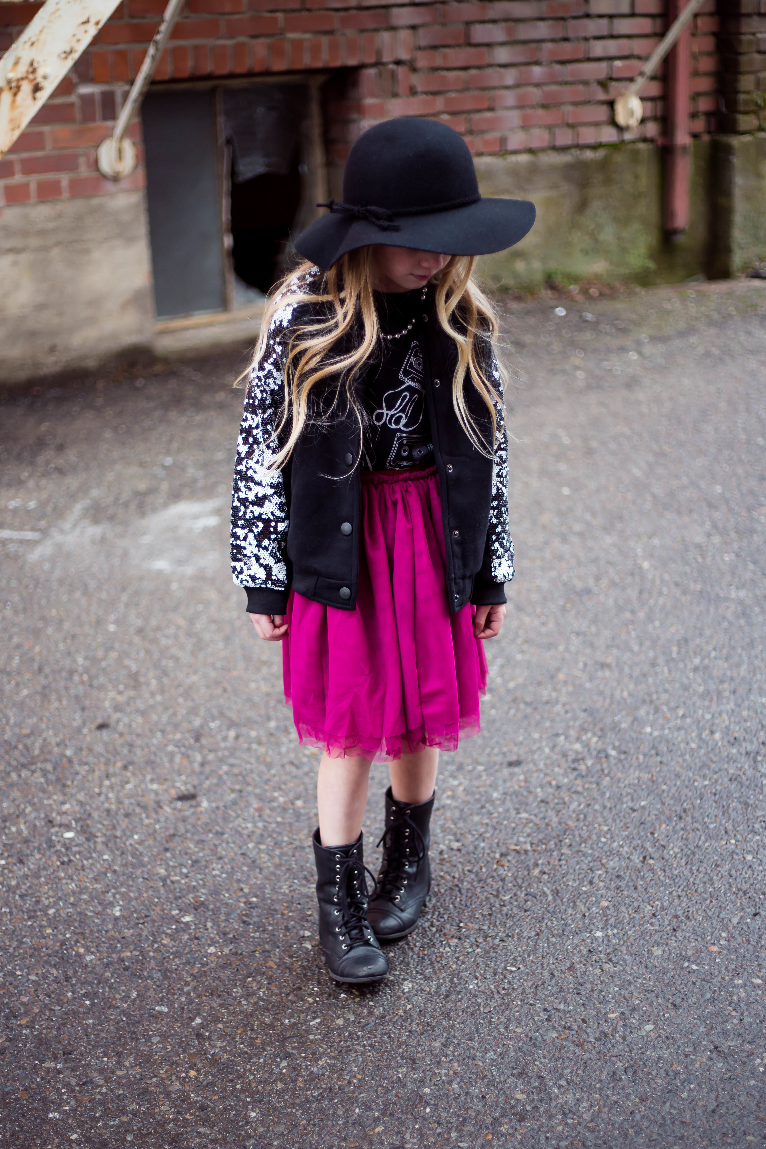 jacket & skirt: little edge threads // shirt: onyx avenue apparel // boots: target