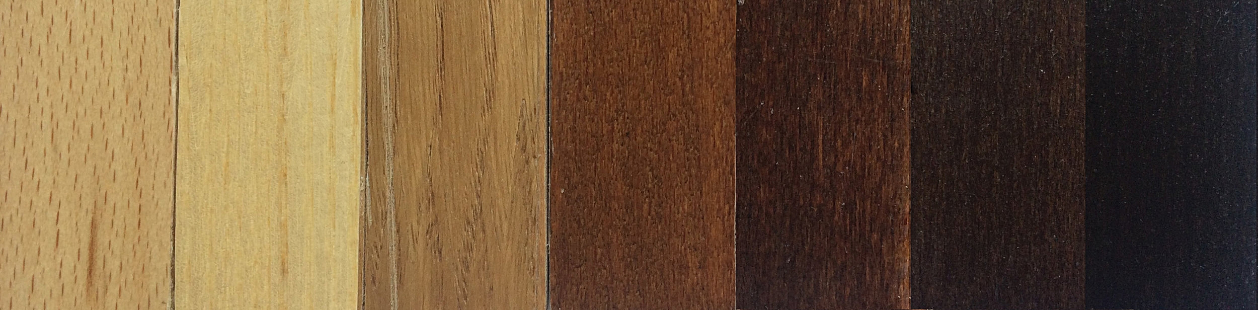 Left to Right  Natural Beech, Ash, Oak. Applied to Beech: Light Walnut, Medium Walnut, Dark Walnut, Wenge.