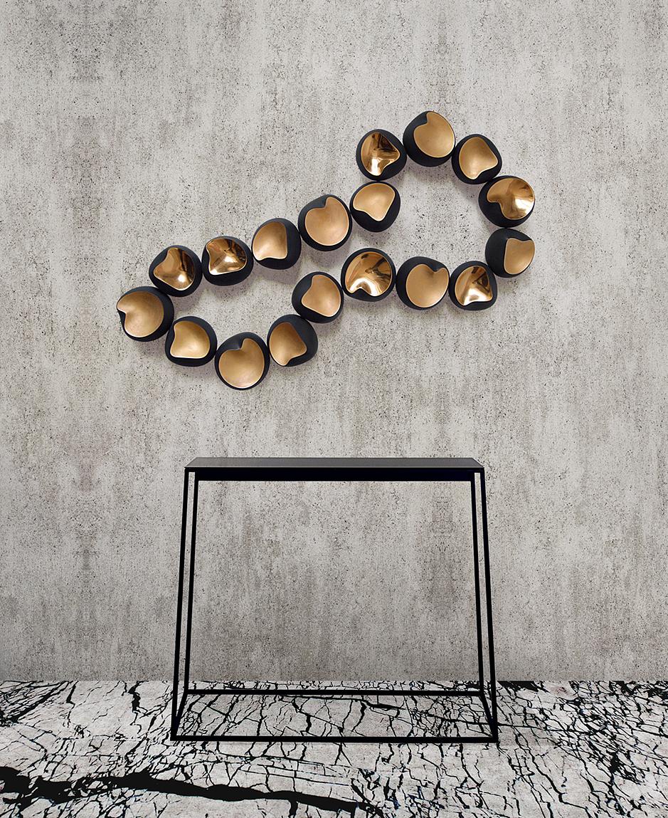 """""""EMPEROR"""" / wall sculpture / black china & gold enamel / H540 x W800 x D60 mm / 2015 / Iiro A. Ahokas"""