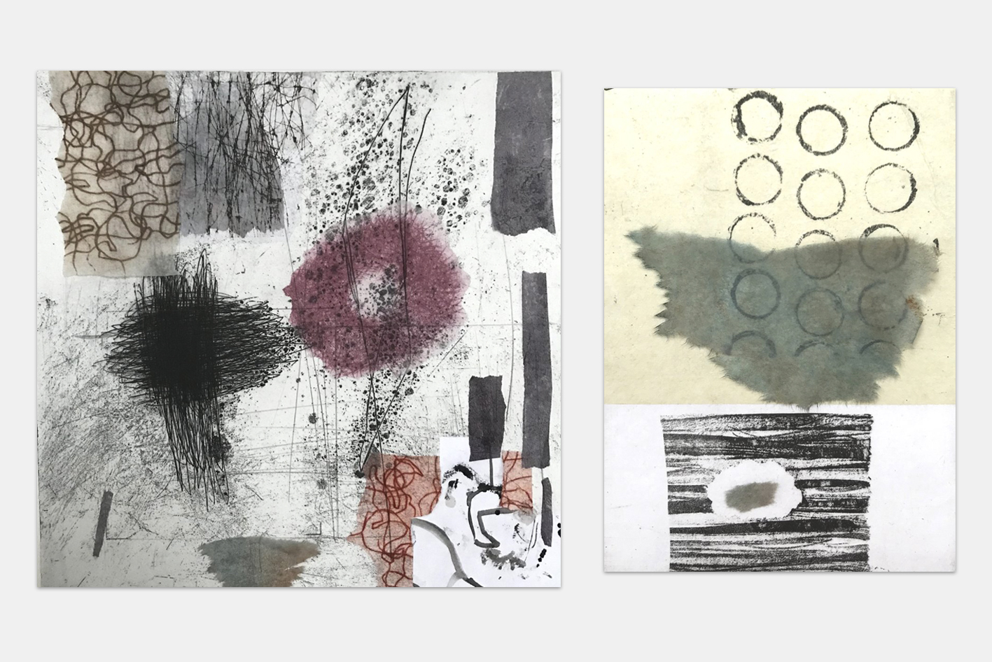 Etchings and mixed media -