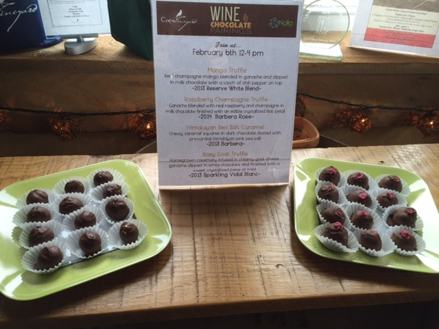 January 20 is our first wine and chocolate pairing of 2019! We will be down in Maryland's Eastern Shore at Crow Vineyard & Winery from noon until 4pm with some fantastic flavors. #easternshore #maryland #winepairing #truffles #chocolate #bloodorange #sparklingvidal #raspberries #caramel #bourboncherry #mango #barbera #rose #chardonnay #merlot #vidalblanc #pinotgris  #winelovers #winepairing