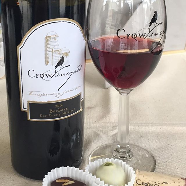 Wine and Chocolate pairing @crowwinecellars today!  #chocolate #wine #crowvineyard #caramel #champagne #visitmaryland