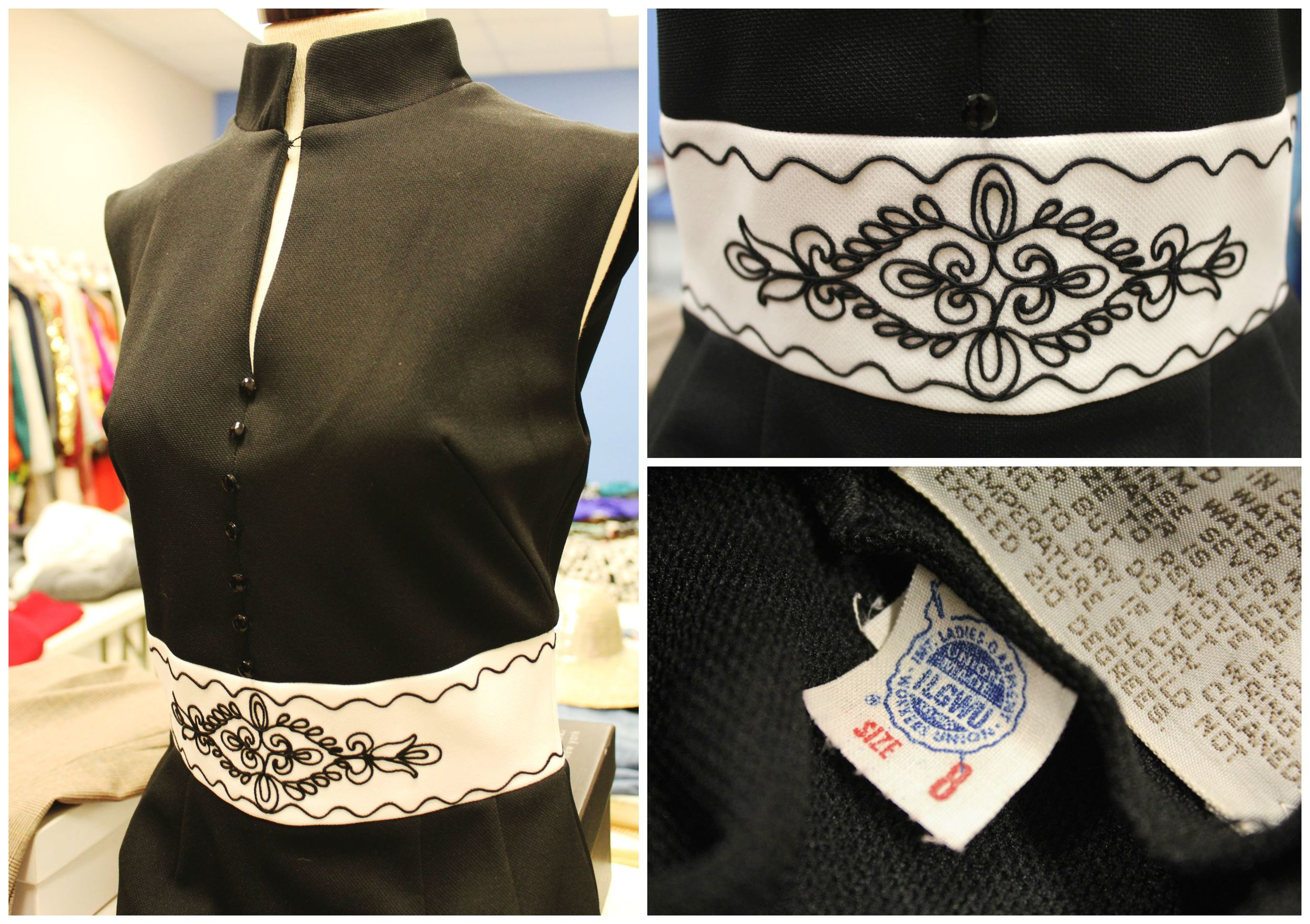 This black dress has a unique style, amazing detail and a union label.