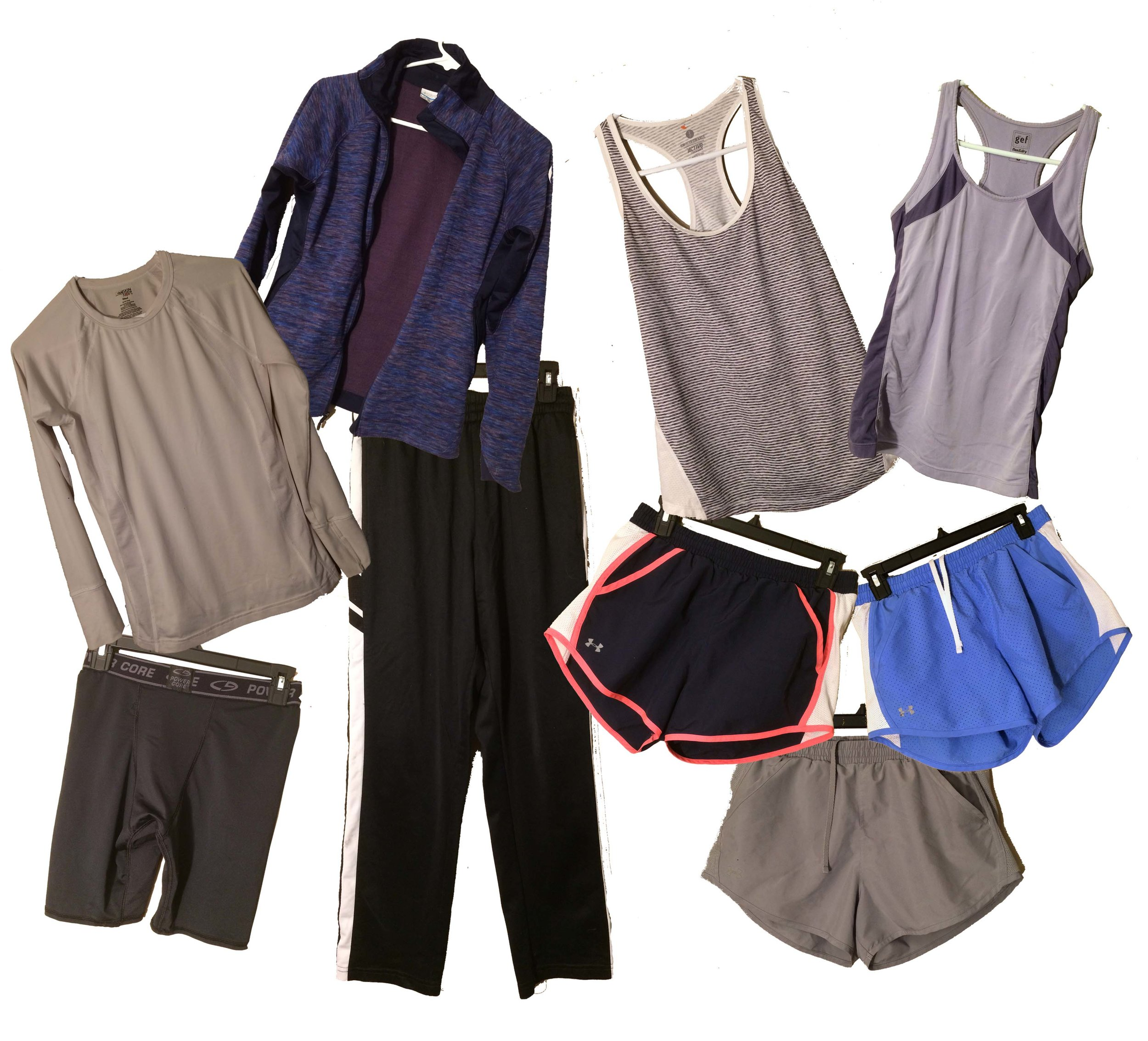 Active Wear - I only wear this if I'm going to the gym or going for a run. In the winter, I include jogging pants, jacket, compression shorts, and an